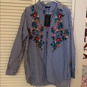 NWT Zara embroidered blouse.